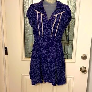 Akualani Navy Blue With White Polka Dots Dress